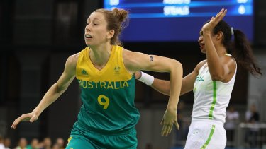 Natalie Burton of Australia in action during a women's basketball preliminary round game against Brazil in Rio on Saturday.