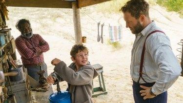 Trevor Jamieson as Fingerbone Bill, Finn Little as Storm Boy and Jai Courtney as Hideaway Tom.
