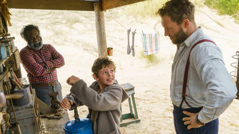 Trevor Jamieson as Fingerbone Bill, Finn Little as Storm Boy and Jai Courtney as Hideaway Tom.