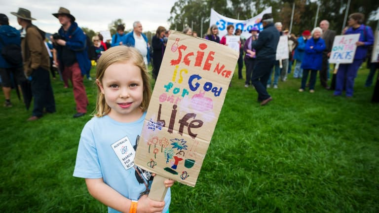 Teagan Vaughn, 6, at the March for Science.