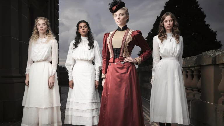 In Picnic at Hanging Rock, at right, with Samara Weaving, Madeleine Madden and Natalie Dormer.