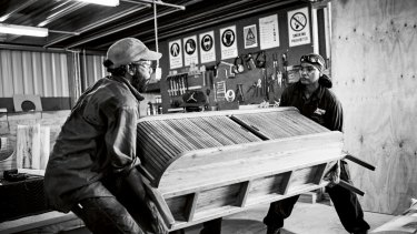Milingimbi Island craftsmen Sean Mandaway and Josiah Baker at the Manapan factory.