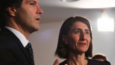 Finance minister Victor Dominello and Premier Gladys Berejiklian.