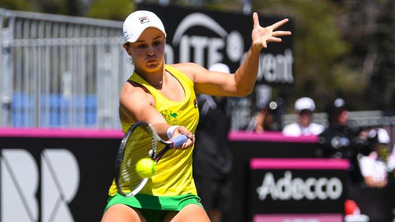 Ash Barty won Sunday's opening match.