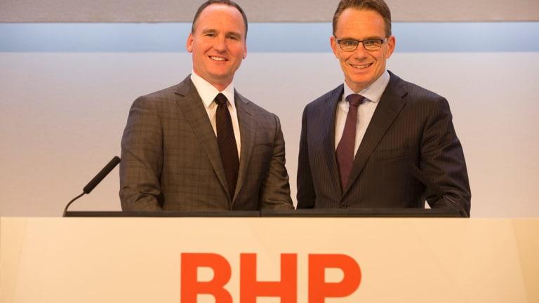 New broom, new logo: BHP chairman Ken MacKenzie pictured with chief executive Andrew Mackenzie.