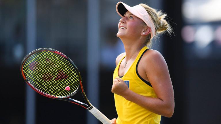 Marta Kostyuk celebrates her win over Daria Gavrilova.