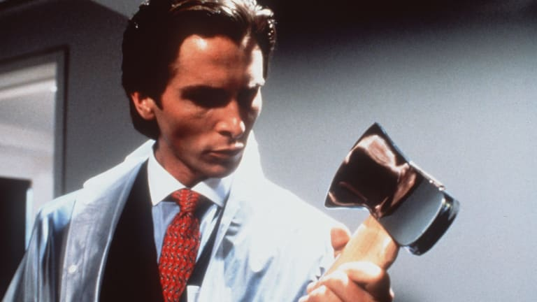 A still from the film version of <I>American Psycho</i>, starring Christian Bale.