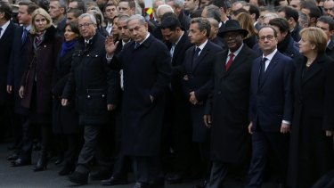 World leaders in the streets of Paris following the Charlie Hebdo massacre in January.
