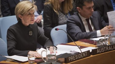 In the hot seat: Foreign Affairs Minister Julie Bishop speaks during a meeting of the UN Security Council in New York on Wednesday.