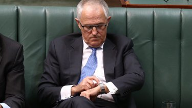 Malcolm Turnbull with his Apple Watch in Parliament House.