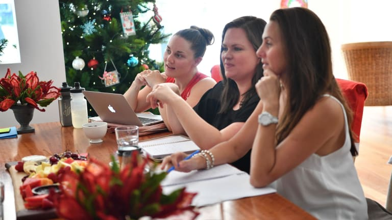 Alex Anasson, Beth Richards and Narelle Plapp at a Business Chicks Power Players meeting in Melbourne.