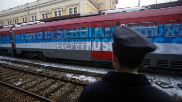 """The first train decorated with letters that read """"Kosovo is Serbian"""" written in 20 languages departing from Belgrade for Mitrovica on January 14."""
