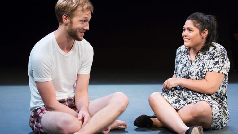 Sam O'Sullivan and Nakkiah Lui in Lui's play <i>Kill the Messenger</i> at Belvoir.