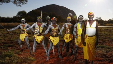 Gumatj clan ceremonial leaders who will perform the Gurtha ceremony at the opening ceremony of the First Nations National Convention held in Uluru.