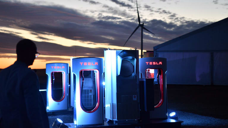 A Tesla car charging station is at South Australia's wind and solar battery plant outside of Jamestown.
