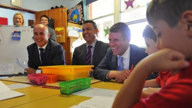 Education Minister Adrian Piccoli, Skills Minister John Barilaro (centre) and NSW Premier Mike Baird.
