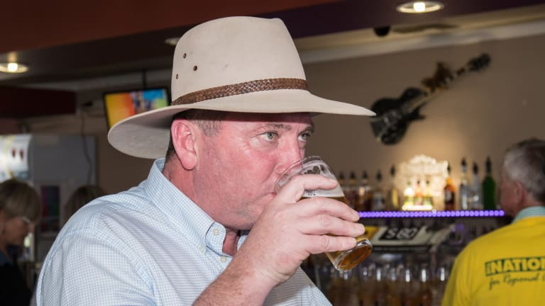 Barnaby Joyce at the Longyard Pub, after the High court ruled he was a New Zealand Citizen.