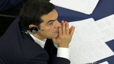 Greek Prime Minister Alexis Tsipras at a debate at the European Parliament in Strasbourg.