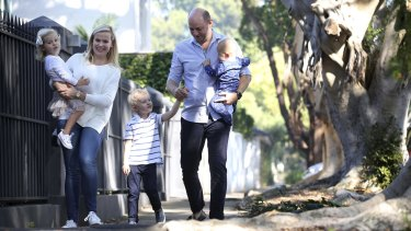 Grace and Alexander Atkinson in Woollahra with their children Jack, 4, Alice, 3, and baby Hugo.