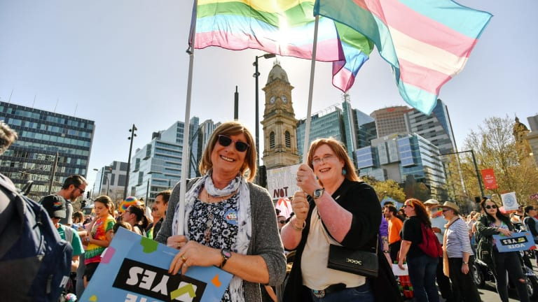 """""""Yes"""" campaign supporters at a rally in Adelaide."""