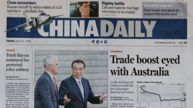 Malcolm Turnbull appeared on the front page of the China Daily with Premier Li Keqiang.