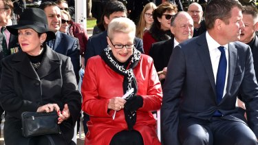 About face: Lord Mayor Clover Moore, Bronwyn Bishop and NSW Premier Mike Baird at the Anzac memorial.