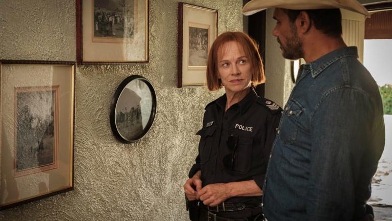 Emma James (Judy Davis) and Jay Swan (Aaron Pedersen) in ABC's Mystery Road.