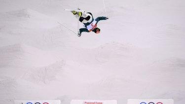 Australian mogul skier Matt Graham takes part in a training run.