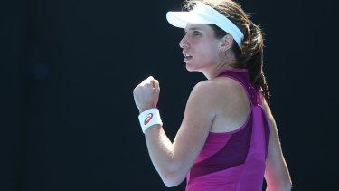 Fought hard: Johanna Konta tested opponent Angelique Kerber at times during their semi-final.