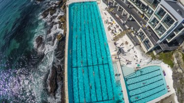 Sky battles: A drone flies over Bondi Icebergs.