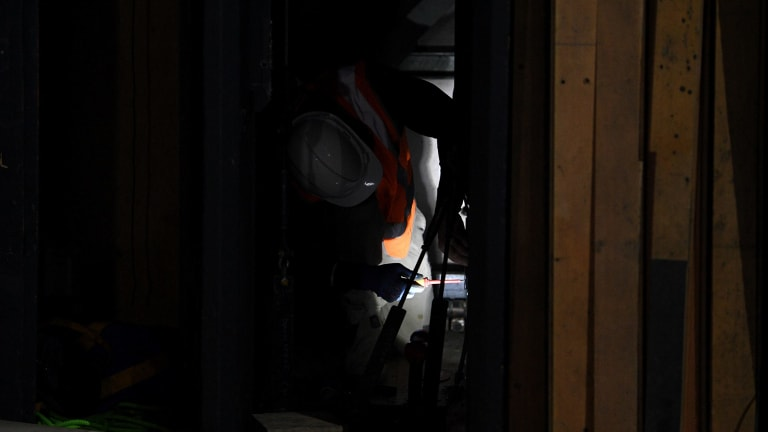 A worker in the Joan Sutherland Theatre as part of the Sydney Opera House renovation on July 26.
