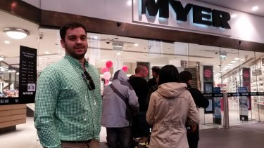 Matt Parnis opts to line up at Myer in an attempt to snag an iPhone 6 outright.