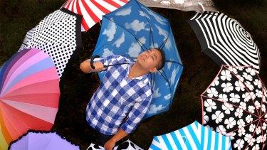 Umbrella seller Brandon Lin.