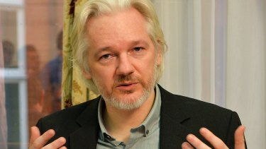 WikiLeaks founder Julian Assange at the Ecuadorian Embassy in London on August 18, 2014.