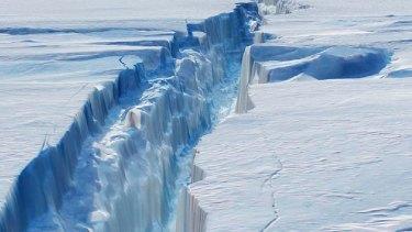 A crack in the Larsen C ice shelf, which grew 17 kilometres in December.