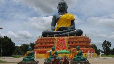 A massive replica of Thailand's celebrated Emerald Buddha statuette which rogue monk Wirapol Sukphol had built.