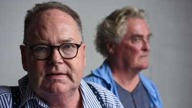 Mark Colvin, left, with actor John Howard who was playing him in the play Mark Colvin's Kidney at the Belvoir this February.