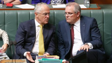 Malcolm Turnbull and Scott Morrison in Parliament.