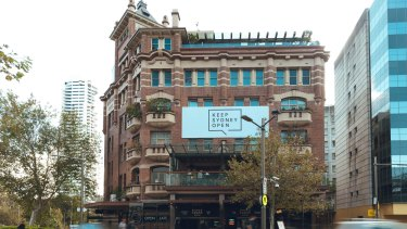 A Keep Sydney Open banner, installed on the Kings Cross Hotel, has angered some local residents.