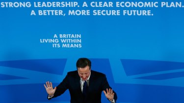 British PM David Cameron at a campaign speech.