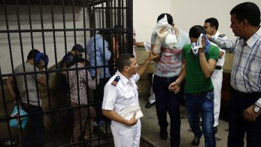 """Eight Egyptian men were convicted for """"inciting debauchery"""" in 2014 following their appearance in a video of an alleged same-sex wedding party."""