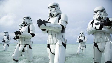 Stormtroopers prove they ain't afraid of no damp in <i>Rogue One: A Star Wars Story</i>.