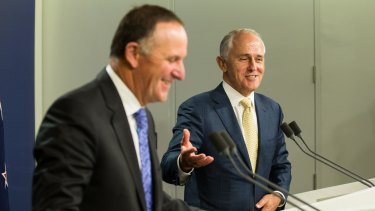 New Zealand Prime Minister John Key with his Australian counterpart Malcolm Turnbull in Sydney on Friday.