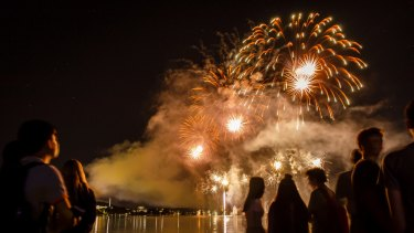 Fireworks entertain a large crowd at Regatta Point for Skyfire 2018. Many received a parking fine.