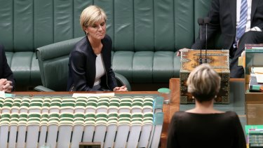 Ms Bishop listens to Ms Plibersek during a motion for a stay of executions for the two men.