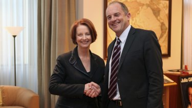 Former prime minister Julia Gillard with New Zealand Labour's foreign affairs spokesman David Shearer in 2012.