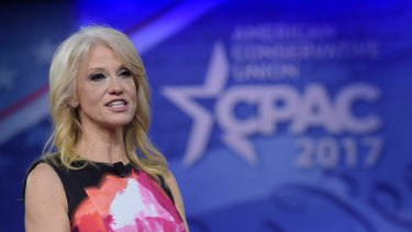 White House counsellor Kellyanne Conway speaks at the Conservative Political Action Conference (CPAC) in Oxon Hill, Maryland, on Thursday, February 23, 2017.