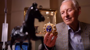 Jeweller Raymond Schlager with an 1850s presentation box with the Tsar's monogram.