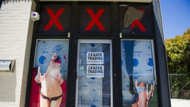 A Fyshwick adult store, one of the nine in the ACT that have closed since 2007.