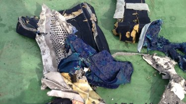 Images posted on the Egyptian Armed Forces' official Facebook page show the mangled seat debris from EgyptAir flight 804's wreckage.